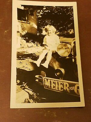 Little Girl Sitting On Vintage Antique Car Old Auto BW Photo