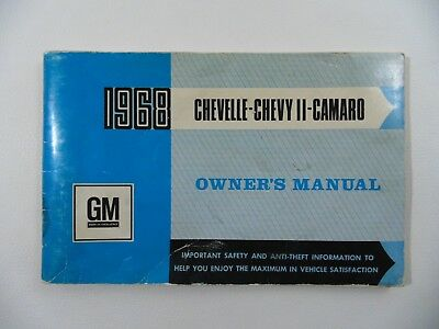 1968 Camaro Chevelle Chevy II Canadian Owners Manual Third Edition GM General