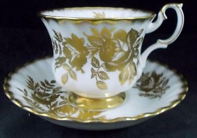 Royal Albert GOLDEN ROSE Cup & Saucer Bone China GREAT CONDITION