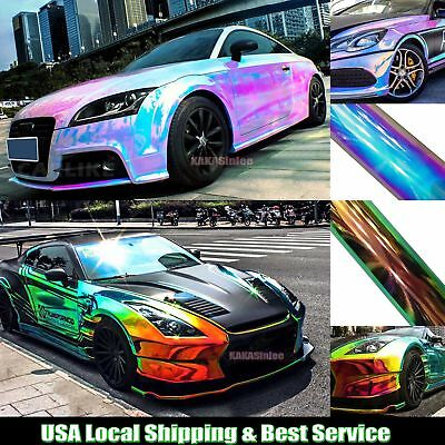Glossy Rainbow Magic Mirror Chameleon Chrome Car Vinyl Wrap Sheet Sticker - ABUS