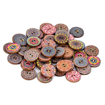 50 x Round Wooden Flower Buttons 2 Holes for Sewing Scrapbooking Craft DIY 20mm