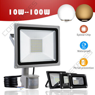 LED Floodlight Motion Sensor PIR 20/50/100W Security Garden Outdoor Flood Lights