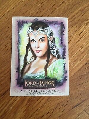 Topps The Lord of the Rings 1/1 ARTISTS RETURN Sketch Card Arwen by Monte Moore