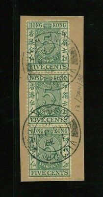 ( HKPNC ) HONG KONG 1938 POSTAL FISCAL 5c STRIP OF 3 13th Jan CDS VFU