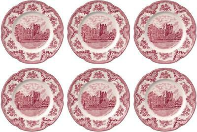 "JOHNSON BROS OLD BRITAIN CASTLES PINK 6 x DINNER PLATES 25cm / 10"" - NEW/UNUSED"