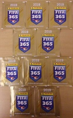 Fifa 365 2019 ~ Panini Sticker Collection ~ 10 x Sealed Packs = 50 Stickers