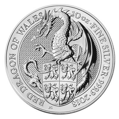 10 oz Silber Queen's Beasts - The Dragon of Wales - Großbritannien 2018