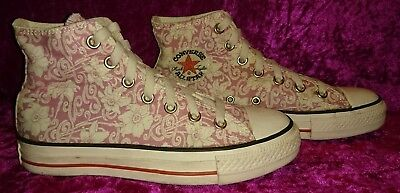 Unisex 🚻 Converse Trainers, Pink And White Floral, High Top, Size 5/37.5 (56)