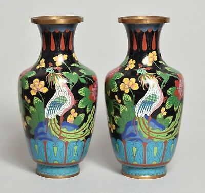 An Attractive Pair Of Antique Chinese Cloisonne Vases