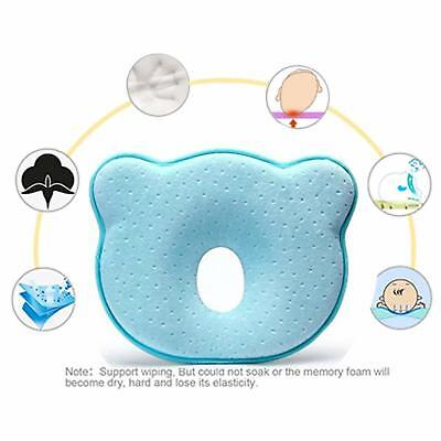 Baby Head Shaping Pillow Memory Foam Flat Syndrome Prevention Cotton Fabric Blue