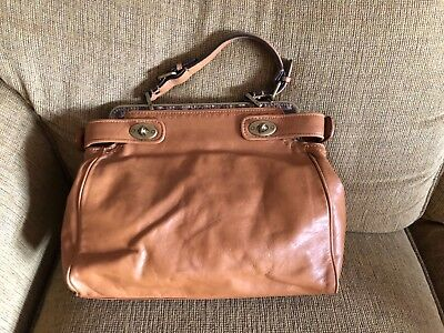 Vintage Talbots leather faux snake skin and brass buckles purse handbag NEW