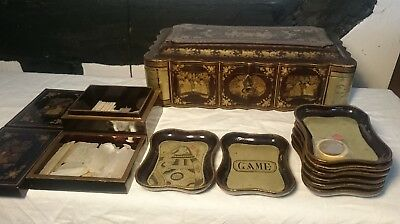 80 Antique Chinese export mother of pearl gaming counters in lacquer games box