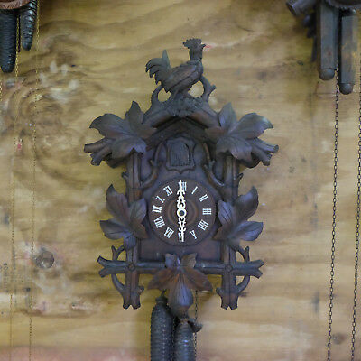 Antique Black Forest Cuckoo Clock Working Large Rooster Bird Wood Carving