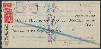 "Canada - Nova Scotia: 1921 Bk Nova Scotia ""SCARCE $291 TIME NOTE"" + Duty Stamps"