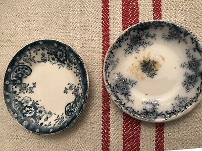 Antique Vintage PAIR of Floral Blue White China Ironstone Butter Pat Plates