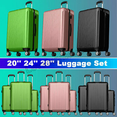20'' 24'' 28'' 3 pieces luggage travel set bag suitcase with spinning wheels