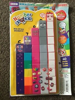Numberblocks Collectors Magazine With Blocks and Stickers 6-10 new.