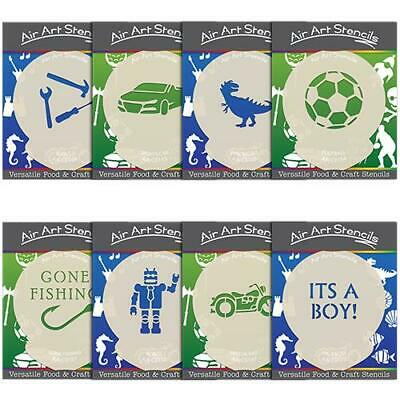Stencils for Boys Sports & Hobbies - Cake and Craft Designs - Football Fishing +