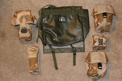 NEW-5 MILITARY TAN CAMO SURPLUS POUCHES & 1 USED GREEN SHOULDER BAG-All 6 PIECES