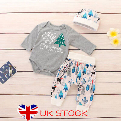 My 1st Christmas Baby Girls Boys Outfits Unisex Xmas Infant Clothes 3pcs Clothes