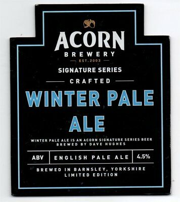 Beer pump clip front. Acorn Brewery, WINTER PALE ALE, Signature series