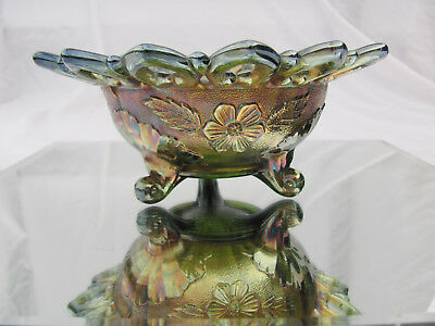 Antique Northwoods Carnival Glass Footed Nut Bowl Wild Rose Iridescent