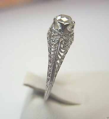 Antique Art Deco Diamond Engagement 18K White Gold Ring Size 5.5 UK-K1/2 EGL USA