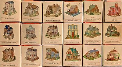 lot of 18 Liberty Falls Village Americana Collection Buildings and Houses