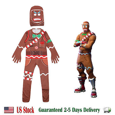 Fortnite Gingerbread Man Costume Halloween Cosplay for Boys