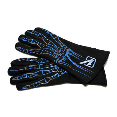 Velocita 122 Safety Driving Gloves Racing 2 Layer Skeleton SFI Blue X-Small XS
