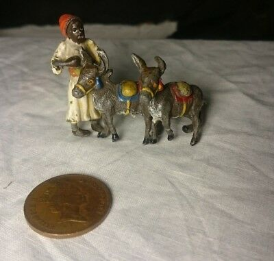 Antique Austrian Vienna cold painted metal Arab with Donkeys