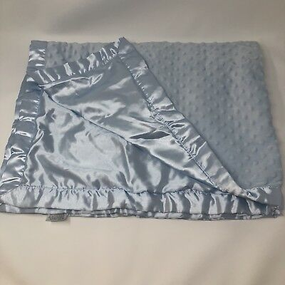 Starting Out Layette Minky Dot Velour Satin Baby Blanket Blue Boys Y94ES501L