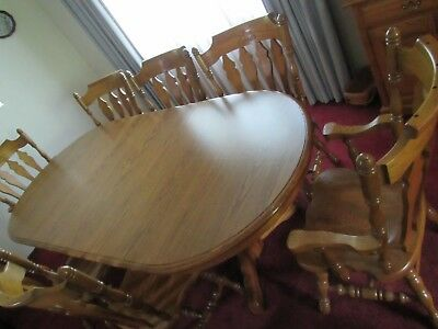 COCHRANE Furniture SOLID OAK Table 8 chairs, Lighted China Cabinet Curio PERFECT
