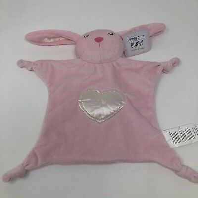 Stepping Stones Pink Bunny Rabbit Security Blanket Lovey Heart Long Ears Knots