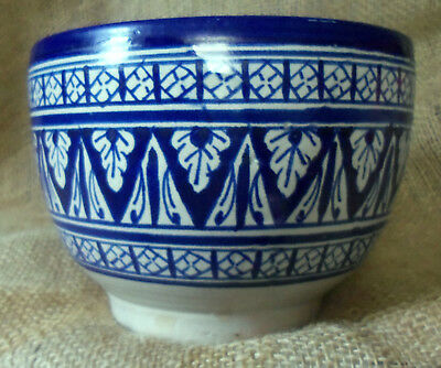 Morocco Blue & White Pottery Bowl Signed ACH