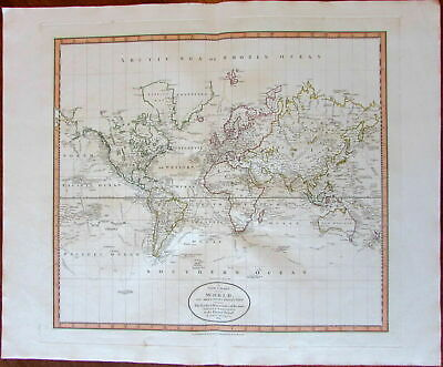 World Map discovery navigator tracks Stony Mts. 1801 Cary lovely large old map