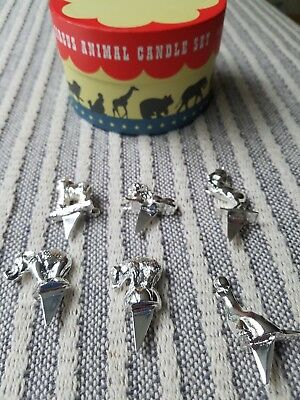 Reed Barton Circus Animal Birthday CANDLE HOLDERS Silver Metal Set Of 6 Box