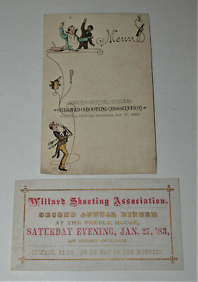 1883 Menu for Willard Shooting Association to be held at Preble House
