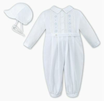 Sarah Louise Baby Boy White suit with blue for  baptism, dedication,christening