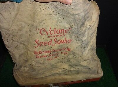 Vintage Cyclone Seed Sower Hand  Wood Crank Cloth Bag Cyclone Seeder Co. USA
