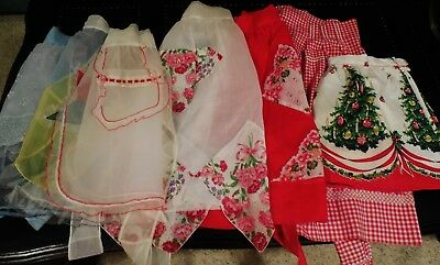 Vintage Mixed Lot of 7 Aprons - Some Handmade - All in Good Used Condition