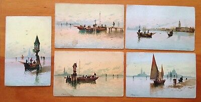 Antique 1900's F. NORETTI Artist Signed Venice Italy Postcard Lot of 5