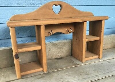 Vintage Shelf Wooden with Heart Cut Out Two Large Hooks for Keys Coffee Mugs