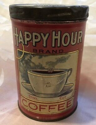 Antique Coffee Tin Happy Hour By Campbell Holton Illinois One Pound Red