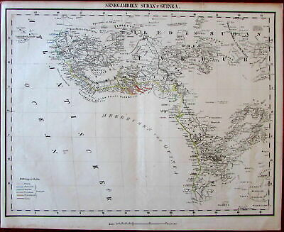West Africa detauiled Guinea coast Congo Donga Mts. c.1850 detailed German map