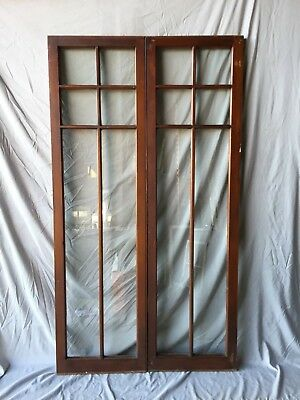 Pair Antique Varnished 6 Lite Casement Door Windows Cabinet 19x66 Vtg 228-18C