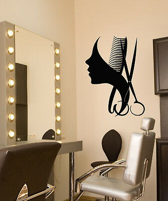 Vinyl Wall Decal Beauty Hair Salon Barbershop Logo Scissors Comb Stickers 3117ig