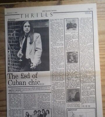 """THE PRETTY THINGS INTERVIEW NME DEC 7, 1974 (16.5"""" x 11)"""