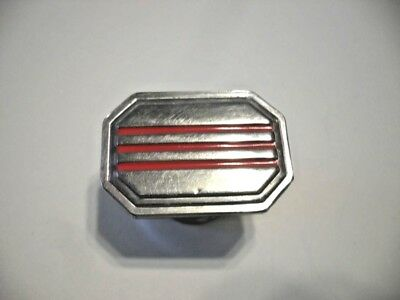 VINTAGE 1940s Chrome Rectangular Drawer KNOBS Three RED lines Cabinet Door Pulls