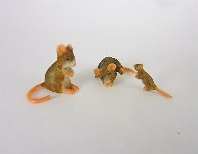 Dollhouse Miniature Set of 3 Brown Mice, Mouse, A3393BR